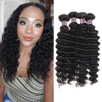 Peruvian Deep Wave Virgin Hair On Sale 4 Bundles 100% Human Hair Weaves
