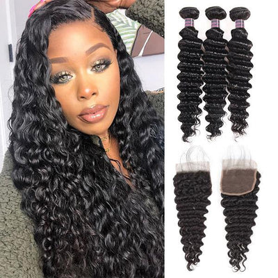 8A Brazilian Virgin Hair Deep Wave Human Hair 3 Bundles With 4*4 Lace Closure