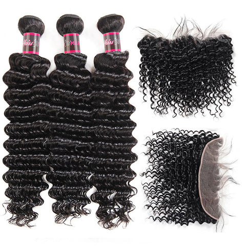 Hairsmarket Deep Wave Virgin Brazilian Hair 3 Bundles With Lace Frontal 13x4 Ear To Ear Closure