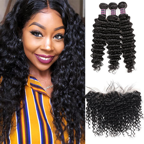 8A Peruvian Deep Wave Human Hair 3 Bundles With 13*4 Ear To Ear Lace Frontal