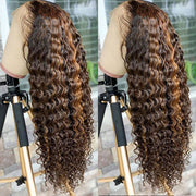 Highlight Wigs Lace Closure Human Hair Wigs Deep Wave Lace Part Wigs