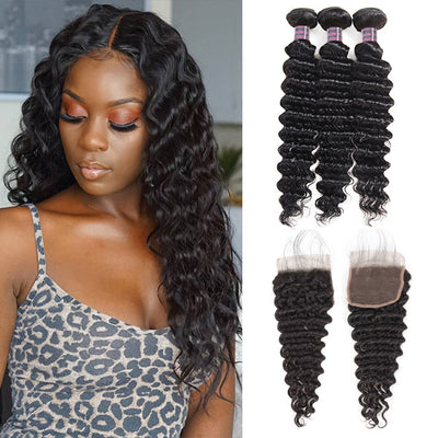 Hairsmarket 8A Brazilian Deep Wave Hair 3 Bundles With 4*4 Lace Closure