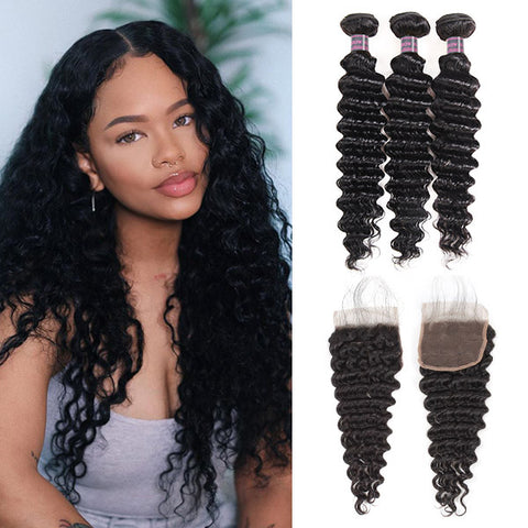 Peruvian Hair Deep Wave Virgin Human Hair 3 Bundles With 4*4 Lace Closure
