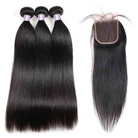 Allove 9A Brazilian Straight Virgin Hair 3 Bundles With 4x4 Lace Closure
