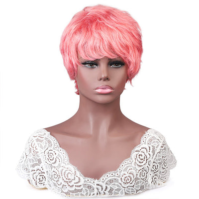 Short Curly Bob Wigs 100% Human Hair Wigs Pink Color No Lace Wigs