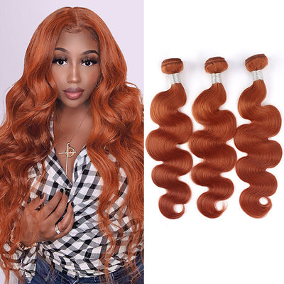 Ginger Color Body Wave Hair Bundles Brazilian Hair Weave