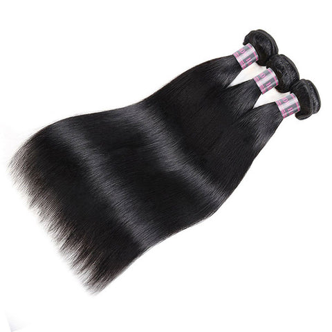Ishow Malaysian Human Hair Straight Weave 4 Bundles With Lace Closure