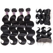 Ishow Body Wave Lace Frontal Closure With 4 Bundles Brazilian Hair