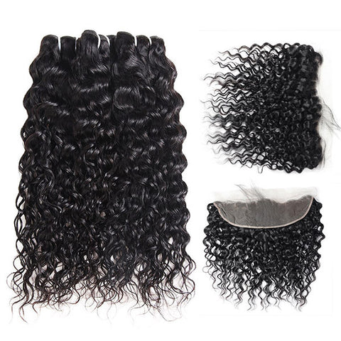 Ishow Non Remy Peruvian Water Wave Human Hair 3 Bundles With 13*4 Lace Frontal Virgin Hair