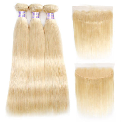 Virgin 613 Blonde Straight Human Hair 3 Bundles With Lace Frontal Closure