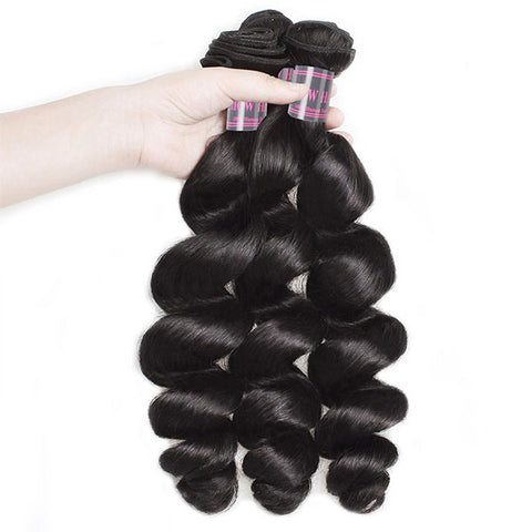 Ishow Peruvian Human Hair Bundles With Lace Frontal Closure Unprocessed Loose Wave Hair 4 Pcs