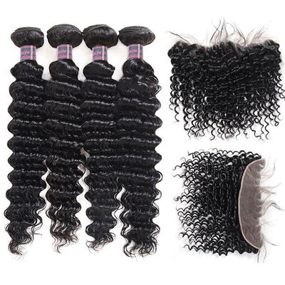 Ishow Peruvian Virgin Deep Curly Human Hair 4 Bundles With 13x4 Ear To Ear Lace Frontal Closure