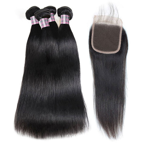 Ishow Straight Human Hair 4 Bundles With 4x4 Lace Closure Unprocessed Indian Hair