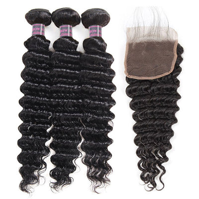 8A Virgin Human Hair Deep Wave Hair Buy 3 Bundles Get 1 FREE Closure