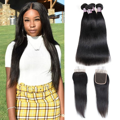 Brazilian Virgin Straight Hair 4 Bundles With 4x4 Lace Closure
