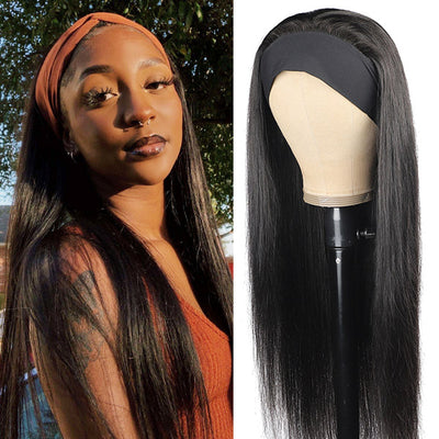 Straight Virgin Human Hair Headband Wigs 150% Density
