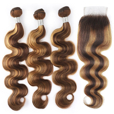 Highlight Bundles With Closure Body Wave Hair Bundles With Lace Closure