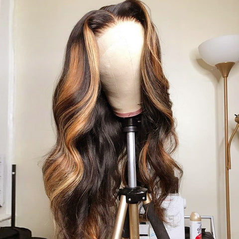 Honey Blonde Highlight Wigs Body Wave 100% Virgin Human Hair Lace Frontal Wigs