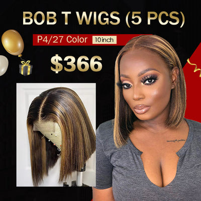 $366 Flash Sale Highlight Color Bob Lace Wigs (10inch 5Pcs)