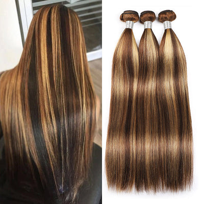 Highlight Bundle Brazilian Straight Hair Weave Remy Ombre Bundles