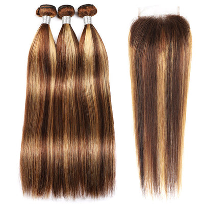 Highlight Bundles With Closure Straight Hair Bundles With Lace Closure