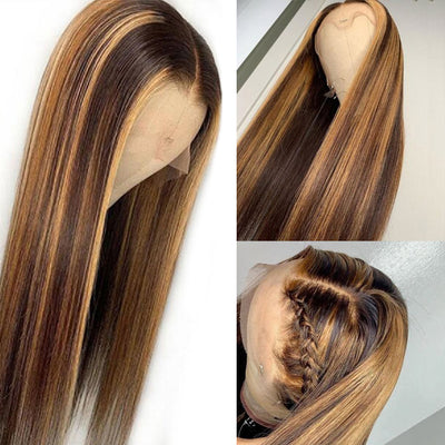Virgin Remy Human Hair Wigs Straight Lace Wigs Highlight Brown Ombre Hair Wig
