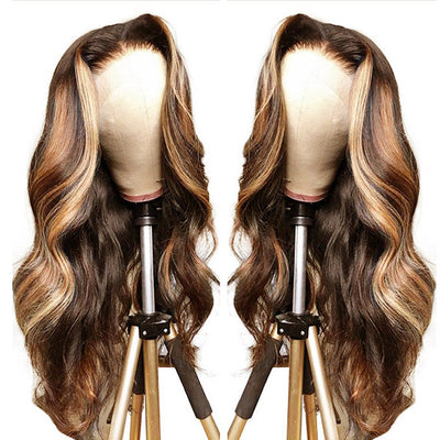 Honey Blonde Highlight Wigs Body Wave 100% Virgin Human Hair HD Lace Frontal Wigs