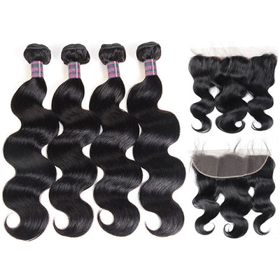 Ishow 13x4 Peruvian Lace Frontal Closure With 4 Bundles Virgin Body Wave Hair