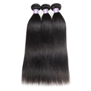 Allove 8A Brazilian Virgin Straight Hair 3 Bundles 100% Human Hair