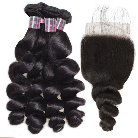 Ishow 4 Bundles Brazilian Hair With Lace Closure Unprocessed Virgin Loose Wave Weave