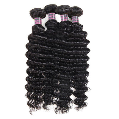 Ishow Indian Deep Wave Virgin Human Hair 4 Bundles Cheap On Sale