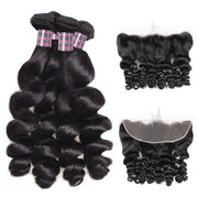 Ishow Virgin Loose Wave Human Hair 4 Bundles With Lace Frontal Pre Plucked With Baby Hair