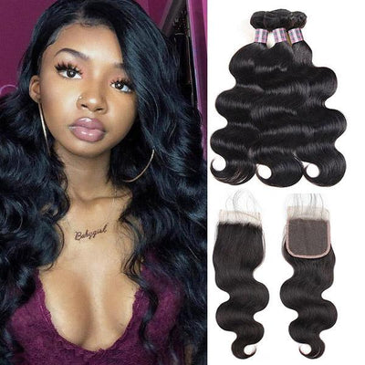 Brazilian Hair Virgin Body Wave Hair 3 Bundles With 4*4 Lace Closure