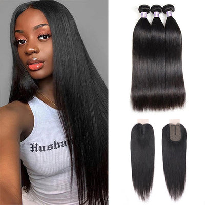 Straight Hair Bundles With Lace Closure, 2*3 Lace Closure With Virgin Hair