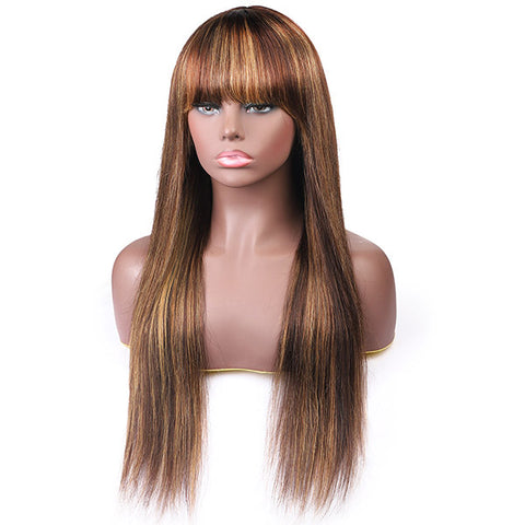 Virgin Straight Hair Wigs With Bang Highlight Color Machine Made Human Hair Wigs
