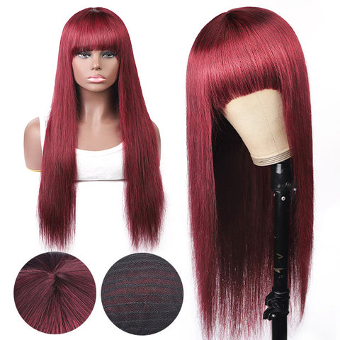 Straight Hair 99J# Colored Virgin Human Hair Wigs Machine Made Wigs With Bangs