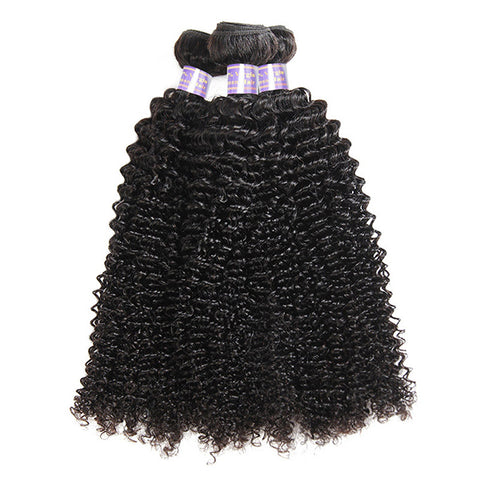 Allove 9A Virgin Kinky Curly Human Hair 3 Bundles Unprocessed Peruvian Hair Weaving