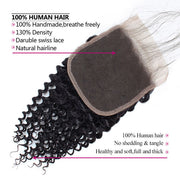 Ishow Brazilian Human Hair 4 Bundles With Closure Virgin Curly Hair Weave