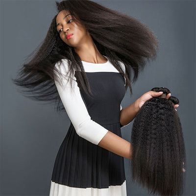 Ishow Hair 3 Bundles Brazilian Human Hair Yaki Straight Virgin Hair Extensions