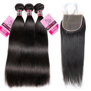 8A Quality Straight Human Hair 3 Bundles With 5*5 Lace Closure