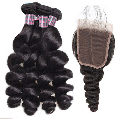 Ishow Peruvian Loose Wave Virgin Human Hair 4 Bundles With Lace Closure