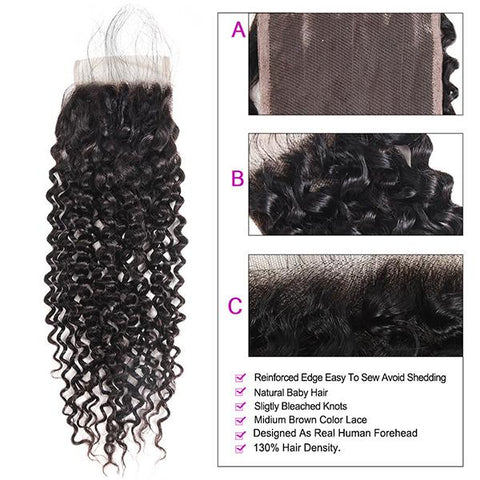 Kinky Curly Hair With Lace Closure 9A Unprocessed 4*4 Customized Lace Wigs