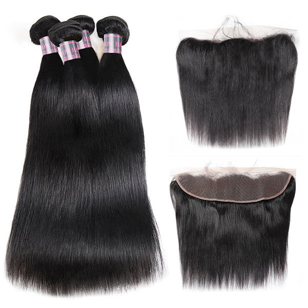 Ishow Straight Human Hair 4 Bundles With 13x4 Lace Frontal Closure Unprocessed Peruvian Hair