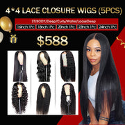 $588 Flash Sale 4*4 Lace Closure Wigs 16-24Inch Human Hair Wigs (5Pcs)