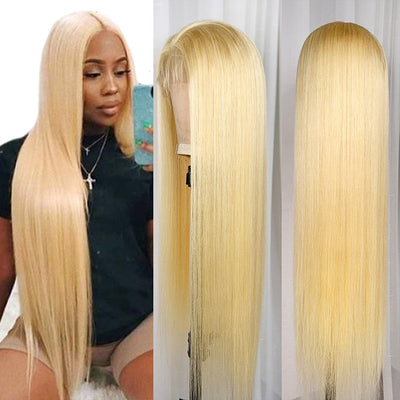613 Blonde Straight Lace Part Wig 100% Human Hair Wigs