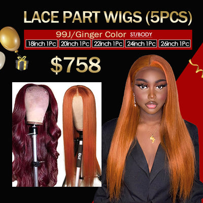 $758 Flash Sale 99J Lace Part Wigs Or Ginger Color Human Hair Wigs (18-26Inch 5Pcs)