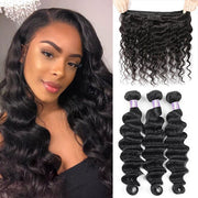 Allove 8A Virgin Peruvian Loose Deep Wave Human Hair 1/3/4 Bundles Deals