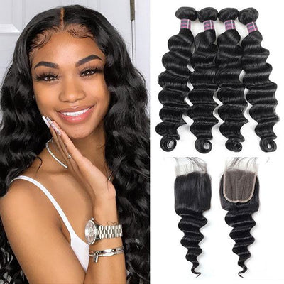 Virgin Loose Deep Wave Human Hair 4 Bundles With Lace Closure 100% Brazilian Hair