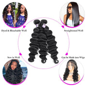 Allove 8A Virgin Peruvian Loose Deep Wave Human Hair