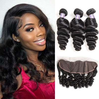 10A Brazilian Virgin Human Hair Loose Wave 3 Bundles With 13x4 HD Lace Frontal